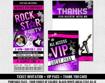 Concert ticket invitations rock star birthday party thank concert ticket invitations rock star birthday party thank you card vip backstage badge pass print your own printable files stopboris Choice Image