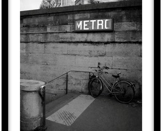 Le Metro, Paris, France. Black and White Fine Art Photograph printed on 308gsm Hahnemuhle fine art paper (Unmatted)