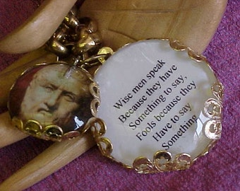 Altered Art NECKLACE~~PLATO and one of his Famous Quotes on A Gold-Tone Chain~~2 Handmade Charms