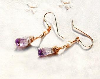 Gold Drop Earrings Stone Jewelry Amethyst Earrings Long Gold Filled Earrings Raw Stone Earrings Purple Amethyst Pearl Earrings Free Shipping