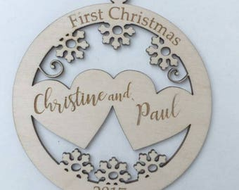 First Christmas Ornament, Custom Ornament, Engraved Ornament, Couple Ornament, Name Ornament, Year Ornament, Wedding Ornament, Just married