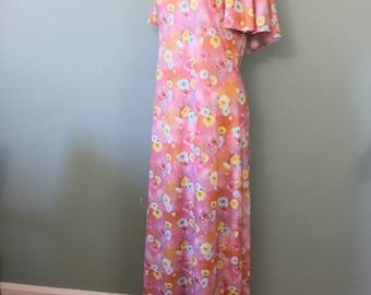 SALE | Flower Power maxi dress | vintage 1970s flutter sleeve maxi | 70s pink maxi dress