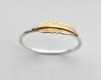 Sterling Silver Feather Ring, Gift for Her, Feather Jewelry Gift for Girlfriend, Gift for Wife, Yoga Jewelry, Knuckle Ring, Zhivana Designs