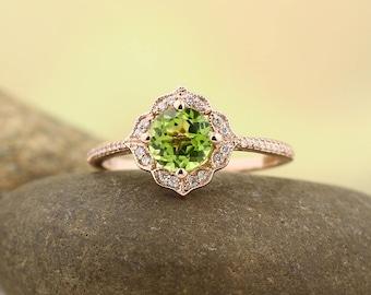 Natural Peridot Engagement Ring Diamond Wedding Ring Vintage Floral Ring In 14k Rose Gold Gem1224
