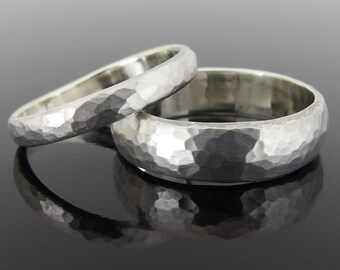 Hammered Half Round Sterling Silver Wedding Ring Set, Silver Wedding Band Set, 5.9 x 1.6 mm and 3.3 x 1.4 mm, Satin Finish