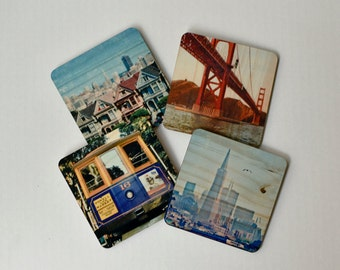San Francisco Landmarks Coasters - Set 1: Distressed Photo Transfers on Wood