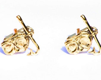 Snorkel Mask Gold Plated Cufflinks UK Handmade Diving Gift