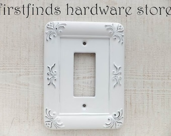 GFI Light Switch Plate Shabby Chic White Electrical Outlet Cover Framed Painted Plastic Single Rocker Screws Included DESCRIPTION BELOW
