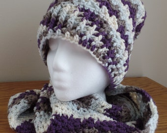 Crochet hat, infinity scarf, and fingerless glove set