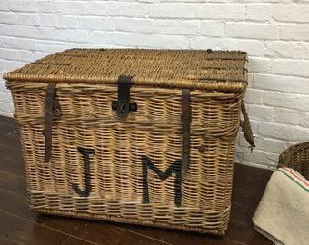 Vintage Wicker Theatre Laundry Basket