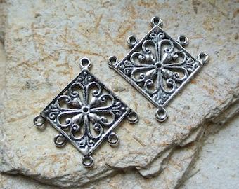 Set of four connectors antiqued silver tone, diamond, 5 holes for pendants-shaped pattern