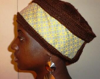 Lemon Drop Don't Stop, Fabric and Crochet Nefertiti Cap