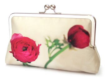 Clutch bag, flower purse, cerise pink petals, bridesmaid gift, printed silk, gift box, RANUNCULUS