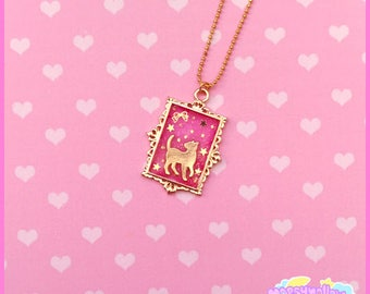 Lovely cat necklace in pink cute and kawaii lolita style