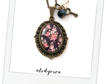 oval sautoir necklace - vintage - romantic - liberty - cabochon - bronze