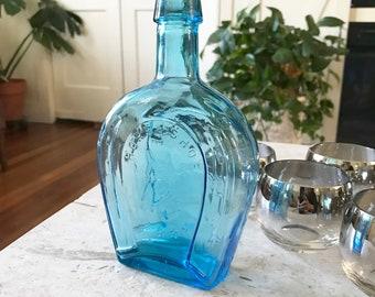 Blue Glass Horseshoe Bottle Boho Decor