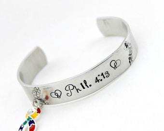 Autism Awareness Scripture Cuff charm Bracelet