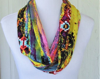 Colorful Infinity Scarf, Tribal Print, Fashion Scarf, Necklace Scarf, Women's Scarves, Eclectasie