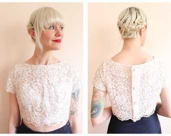 1960s Crop Top // Ivory Lace Cropped Blouse // vintage 60s cropped blouse