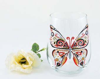 Butterfly glass - Hand painted stemless wine glass - Red and black theme