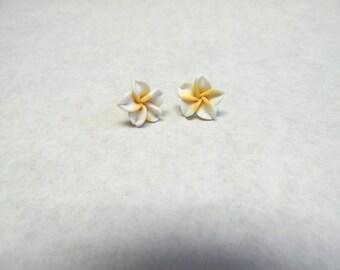 White Hibiscus Flower Earrings Post