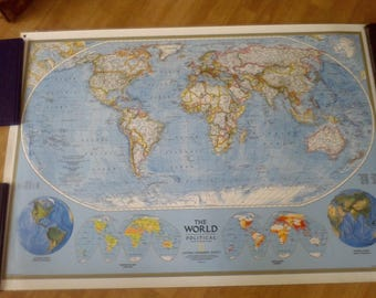 The World Map Laminated, 43 1/2x 30.5, The World Political , Nation Geographic Society