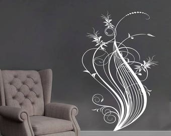 Wall Decals | Abstract flower wall Decals, flower wall stickers, floral wall decor, floral NR258, flower murals