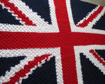 NEW! gift idea NEW crochet british flag union jack afghan/throw cover blanket quality made great gift