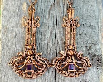 Victorian amethyst earrings in antiqued copper wire