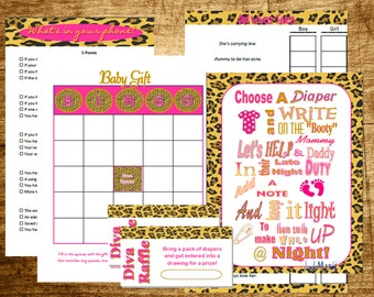 Leopard print baby shower game pack- Unique Baby shower Entertainment pack printable