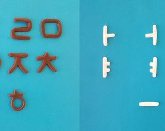 Korean Character Alphabet Letter - Edible Vanilla White And Dark VEGAN GLUTEN FREE Bean Chocolate Letters - Fun Way to Learn Language