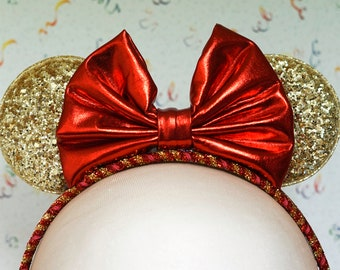 Mouse Ears Headband - red & gold - metallic shiny red bow, chunky gold glitter ears, red and gold glitter band - toddler, child, kid, adult