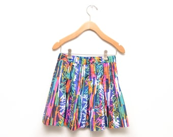 80s Geometric Patterned Pleated Tennis Skirt Womens 4 Abstract Colorful