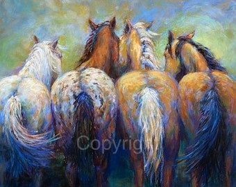 Original Western Horse art on canvas or paper of 'Tails To Tell'