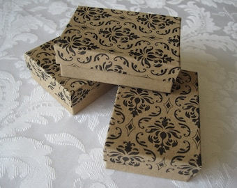 10 Gift Boxes, Jewelry Gift Boxes, Kraft Boxes, Damask Print, Black Damask, Wedding Favor Boxes, Bridesmaid Gift Box, Cotton Filled 3x2x1