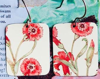 Carnation flower earrings; flower jewelry; upcycled cookie tin earrings; vintage tin earrings; cookie tin earrings