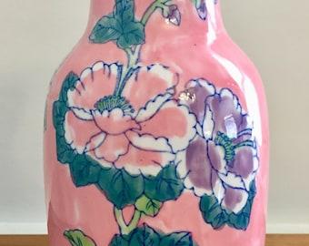 Vintage Chinoiserie Vase Floral and Bamboo Design, Asian Vase, Ceramic Vase, Decorative Vase, Pink, Green and Blue