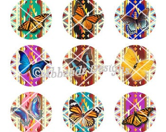 15 Paired - 1 Inch Round Native American Butterfly Bottle Cap Images