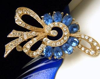Vintage Signed  Joseph Wiesner Rhinestone Brooch Blue Clear Gold Tone