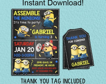 Minions Birthday Party Ticket Invitation Printable Minions