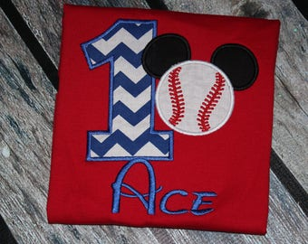 Mickey baseball themed birthday tshirt or romper- any number you choose colors