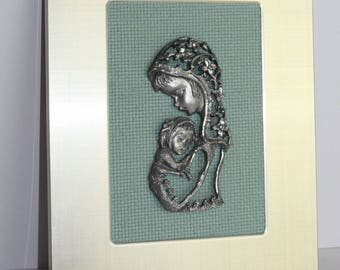 Madonna and Child Pure Pewter Wall Plaque Icon Bas-relief Hanging Frame Christian Spiritual 1960s