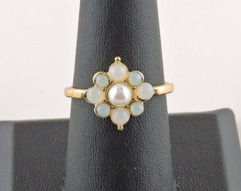 Size 8 Gold Tone Opalescent And Faux Pearl Ring