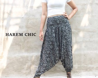 Hippie Clothing Boho Yoga Bohemian Pants Tribal Pants Black Harem Pants .