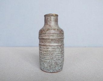 Vintage Studio Pottery Small Mini Vase / Bottle Gray Wheel Thrown Mat Glaze Gray + Dark Brown Mid Century Modern