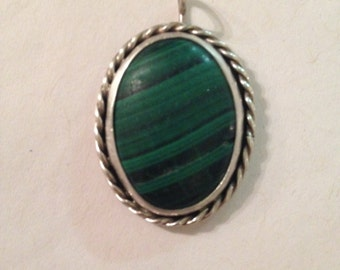 Vintage Malachite and Sterling Silver Necklace Pendant