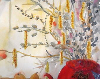 contemporary art, large watercolor, original art, still life, pussy willow, gray red.