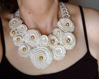 Wedding Necklace/Collar, DIY Crochet necklace, Crochet Pattern,Crochet Flower Necklace Pattern, Crochet Necklace Tutorial, Crochet Jewelry