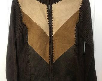 Medium leather front sweater