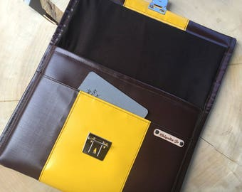 """Bag made of truck tarpaulin for notebook 13 """"brown yellow"""